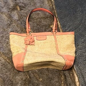 Coach Alexandra chain straw purse